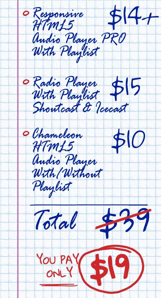 HTML5 Responsive Audio Players Bundle List
